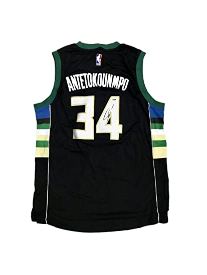 dcd0c1dededa Image Unavailable. Image not available for. Color  Giannis Antetokounmpo  Milwaukee Bucks Away Black Autographed Signed Jersey Memorabilia PSA DNA