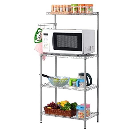 LANGRIA 3 Tier Microwave Stand Storage Rack, Kitchen Wire Shelving  Microwave Oven Baker\'s Rack with Spice Rack Organizer, Silver Grey