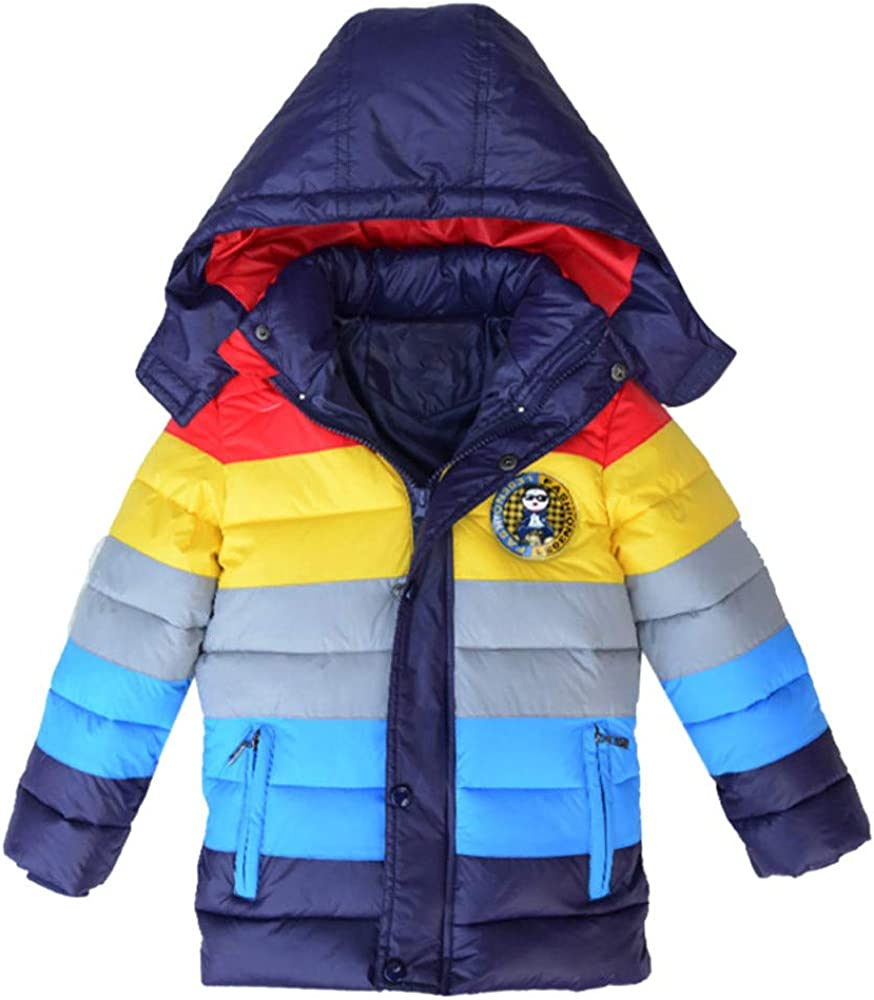 Lurryly❤Girls Boys Kids Winter Thick Coat Jacket Rainbow Outerwear Patchwok Clothes 3-7T