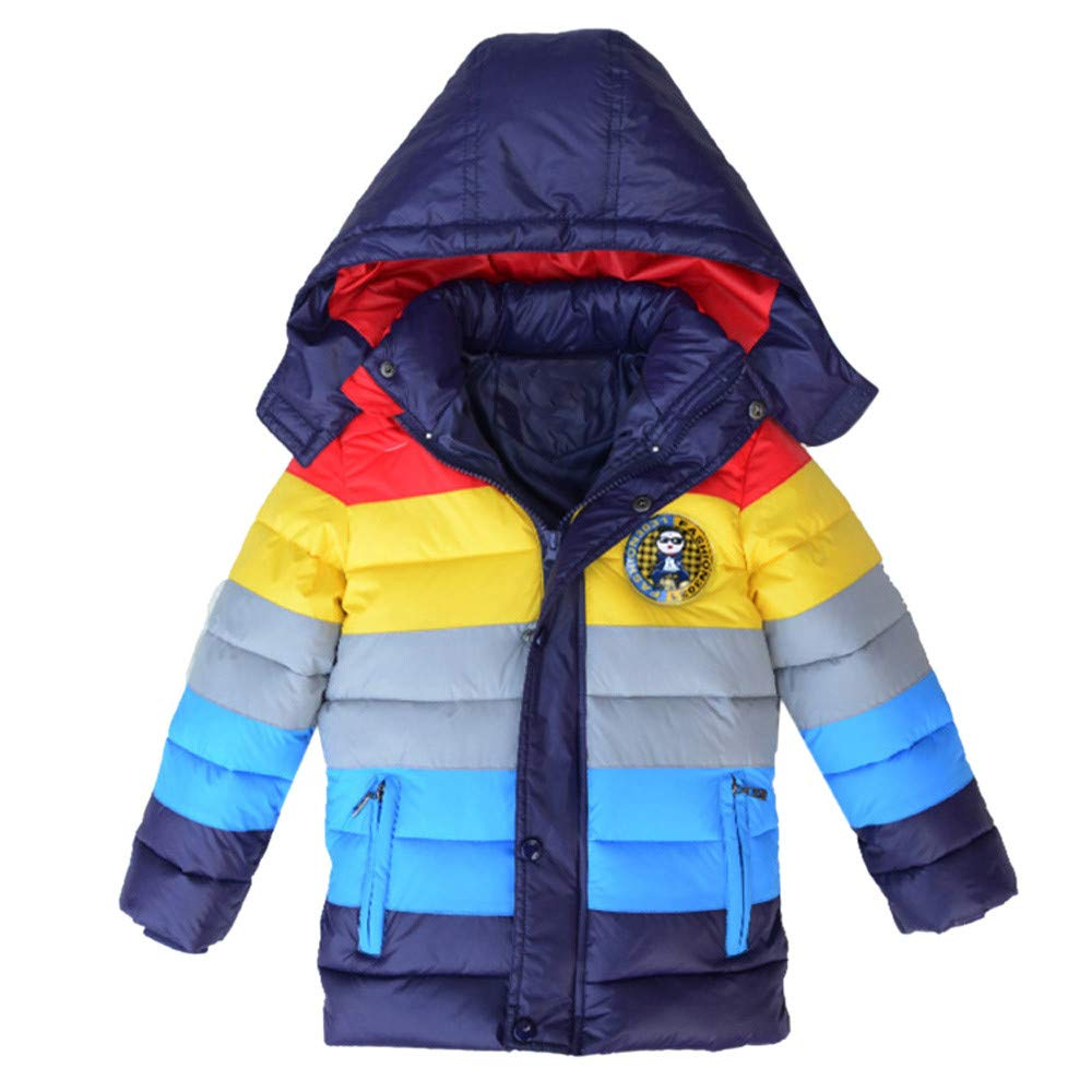 Little Kids Winter Warm Coat,Jchen(TM) Fashion Kids Little Boys Kids Coat Boys Girls Thick Coat Padded Rainbow Patchwork Winter Outwear Coat for 3-7 Y (Age: 6-7 Y, Navy)