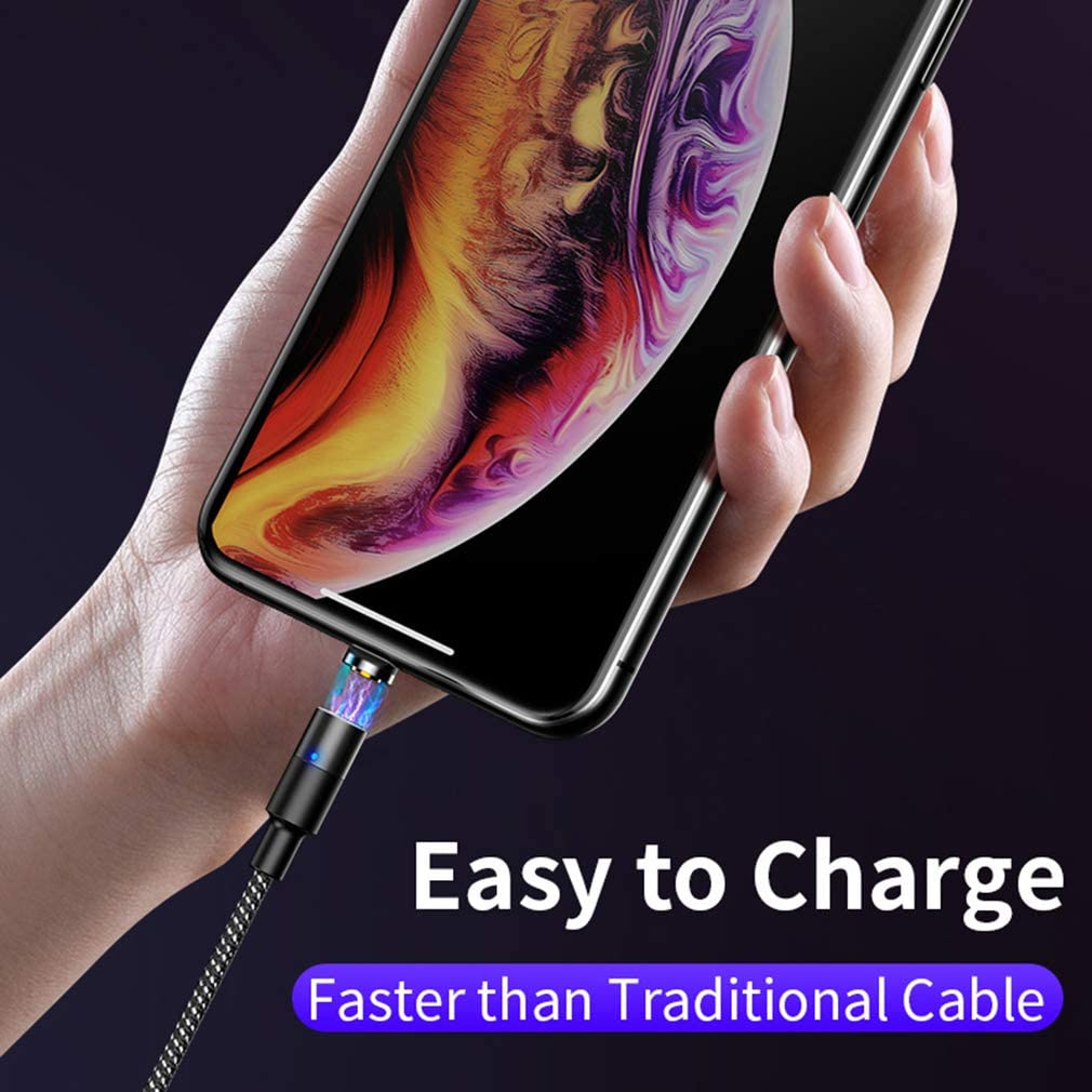 360 Degree Magnetic Suction Head 6.6 Inch Nylon Braided Wire and Mirco USB Compatible Smartphone Device-Black with LED Light USB Magnetic Charging Cable