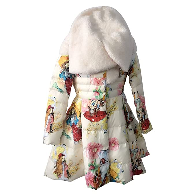 M&A Abrigos Princesa Para Niñas de Pluma Plumón Abrigo Vestido Infantil Largo Invierno Cuello Solapa 130