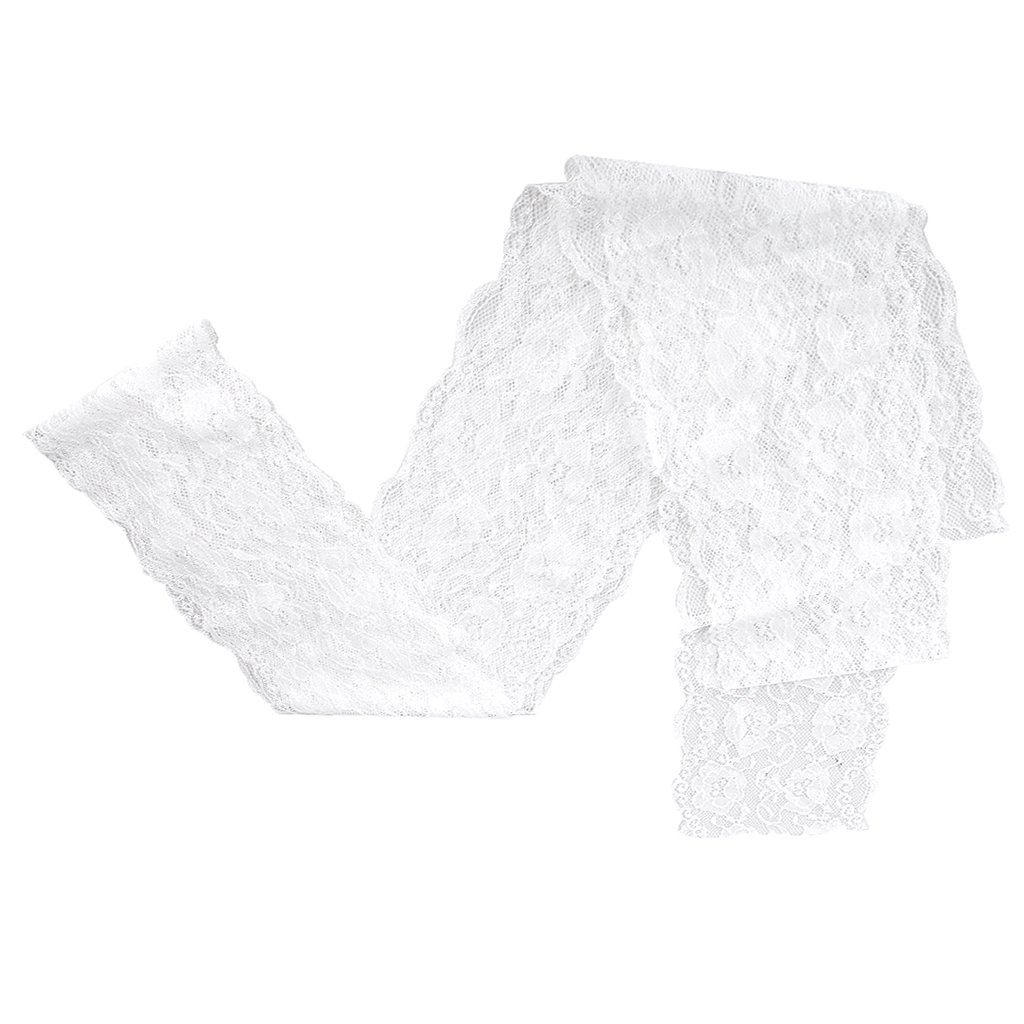 5 Yard Wide Floral Stretch Lace Trim DIY Sewing Applique - White, 7cm Generic AEQW-WER-AW127806