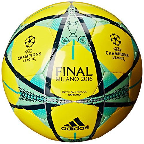 adidas Performance Champions League Finale Milano Capitano Soccer Ball, Shock Yellow/Mineral/Green Glow, Size 5 ()
