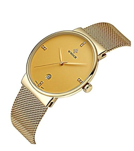 wwoor Hombre s Ultra fino malla banda relojes macho Elite Sport Reloj de pulsera Oro