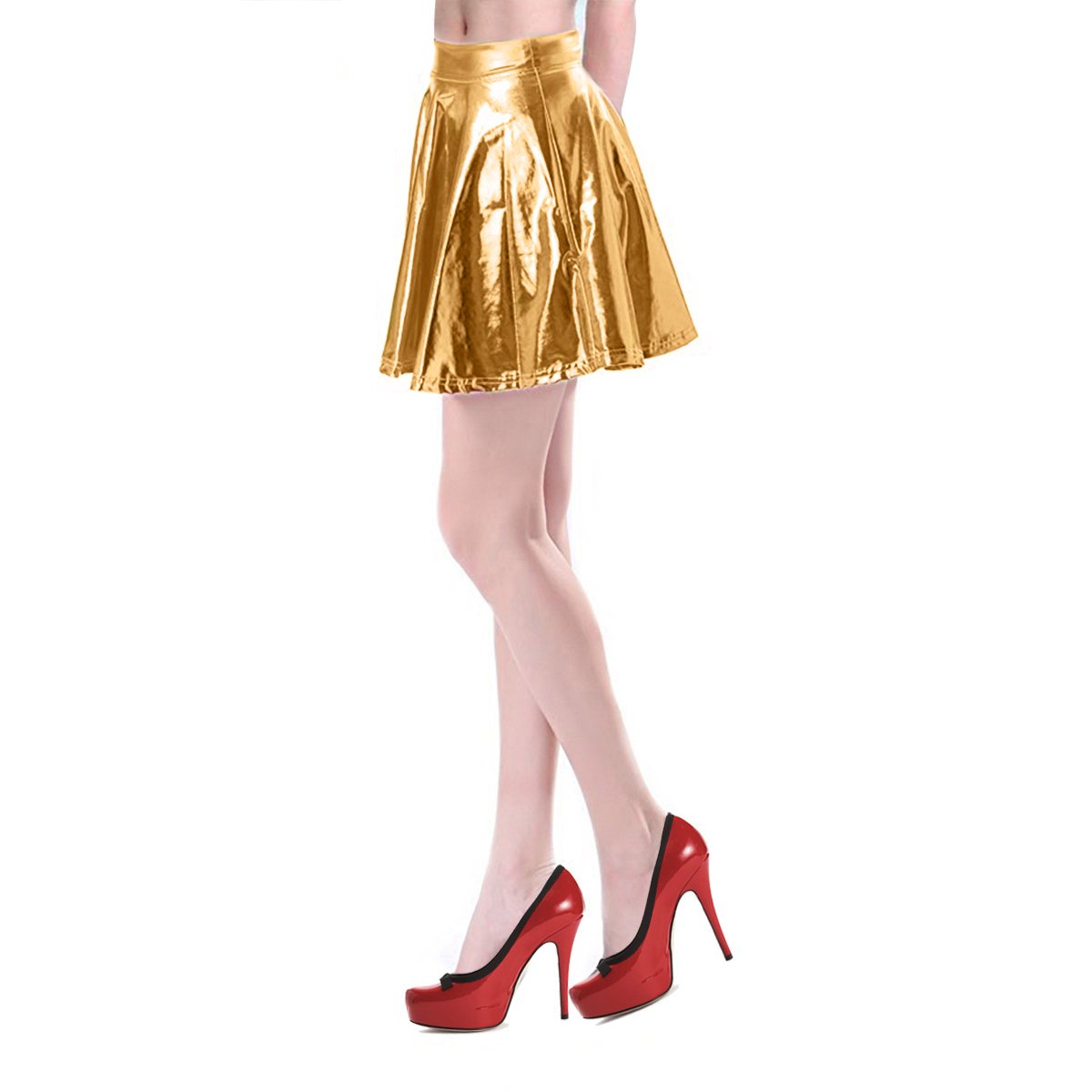 Mother's Day Gifts Pleated Skirt Short Shiny Liquid Metallic Flared Skater Skirt Golden, Small by TQS (Image #3)