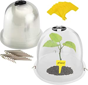 Opmeiro Protective Garden Cloche Reusable Plastic Plant Bell Cover Plant Protector Cover for Season extention with Ground Securing Pegs 6pack 10 x 8.27inch