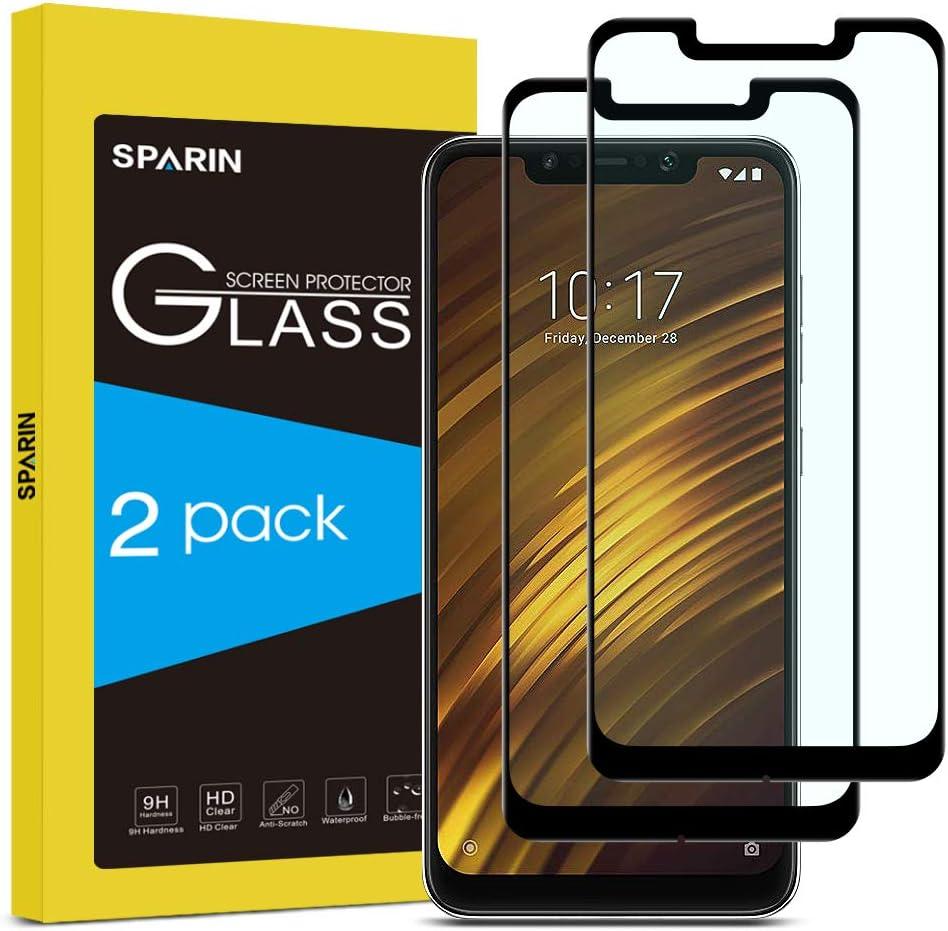 SPARIN [2-Pack] Protector Pantalla Xiaomi Pocophone F1, Full-Cover Cristal Templado Xiaomi Pocophone F1 [Sin Burbujas] [Anti-Arañazos] [Dureza 9H] [Anti-Huella] Negro