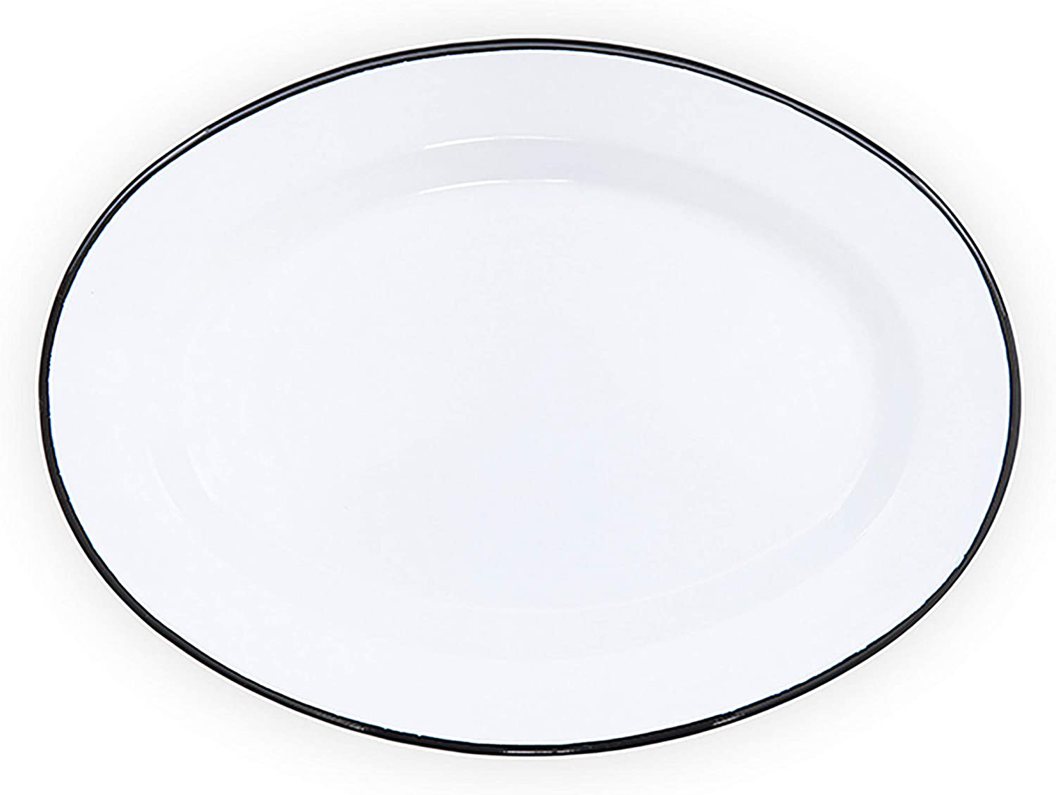 Enamelware Oval Plate, 11.75 inch, Vintage White/Black (Single)
