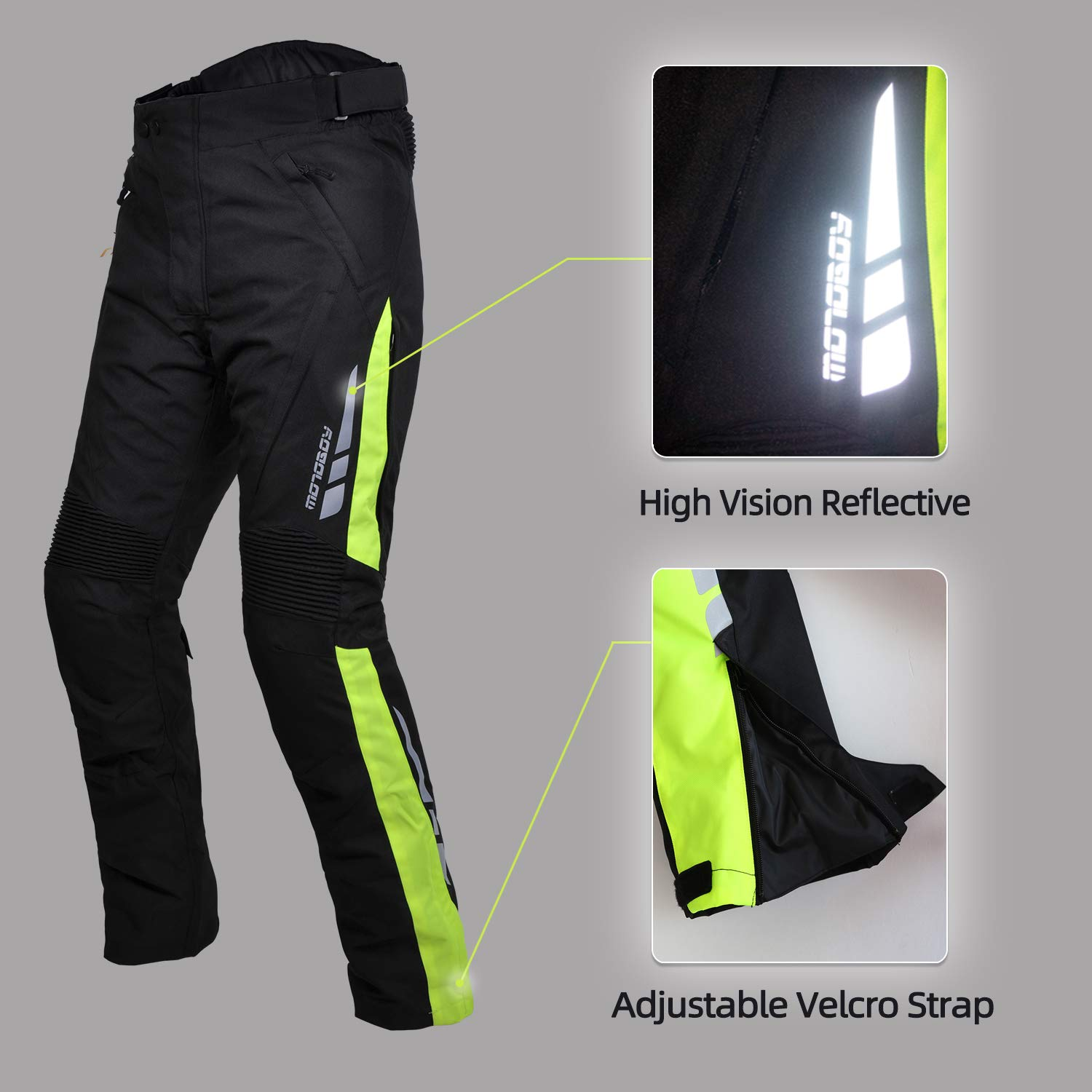 S, Grey//Black Waterproof Thickened Motorcycle Riding Pants,All-Weather Removable CE Armored Windproof Thermal Motorbike Pants for Men