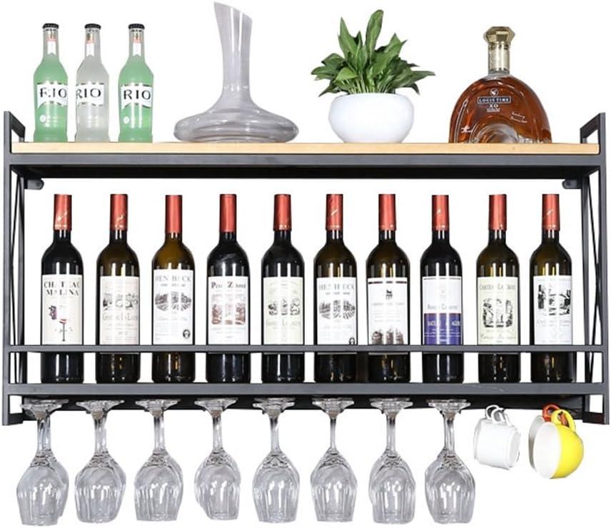 Rack organisateur de rangement mural /étag/ère Porte-vin rustique Porte-verre /à vin suspendu noir Porte-bouteille de vin en bois Vintage mural Porte-bouteilles de vin mural en m/étal