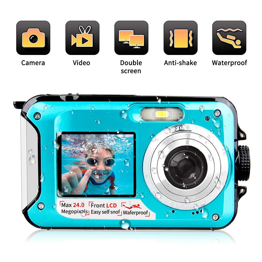 Underwater Camera 1080P Full HD Waterproof Digital Camera 24 MP Video Recorder Camcorder Selfie Dual Screen Shoot Waterproof Camera for Snorkelling (Blue)