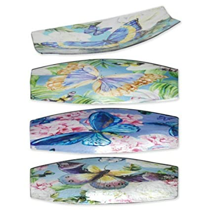 CAPRILO Set de 4 Platos Largos Decorativos Mariposas Colorines Vajillas y Cuberterías.Adornos y Centros