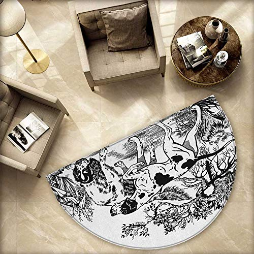 """Hunting Half Round Door mats Hunting Dogs in The Forest Monochrome Drawing English Pointer and Setter Breeds Bathroom Mat H 59"""" xD 88.6"""" Black White"""