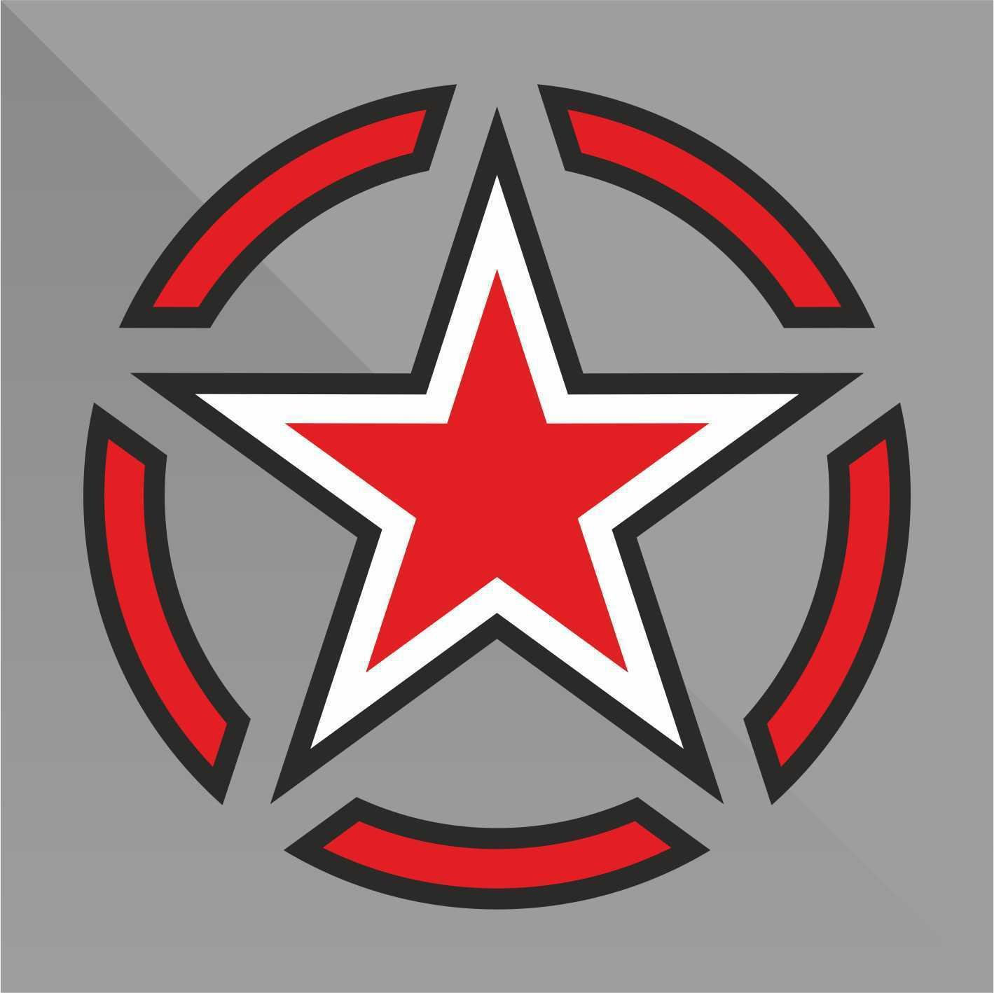 Sticker Stella Militare Military Star Militär Sterne estrella de los militares étoiles militaire - Decal Cars Motorcycles Helmet Wall Camper Bike Adesivo Adhesive Autocollant Pegatina Aufkleber - cm 10