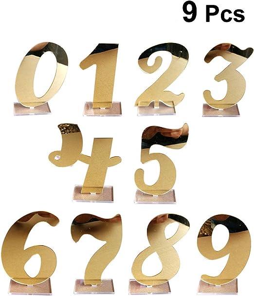 BESTOYARD Mesa de Boda Número 0 – 9 Espejo acrílico Dorado Números ...