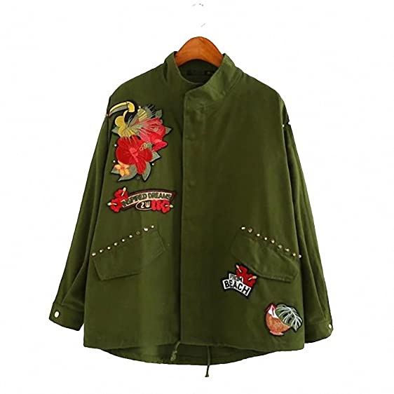 Women Army Green Floral Bird Car Embroidery Patch Bomber Jacket Rivet Studded Loose Flight Jacket Casual
