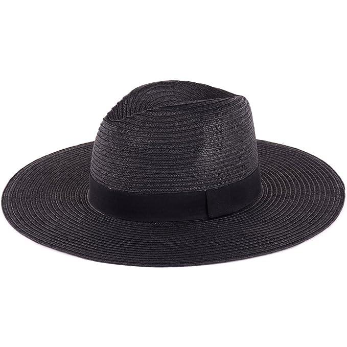 60ec94c471b1c BYOS Summer Straw Panama Floppy Wide Brim Sun Hat in Solid W  Black  Grosgrain Band