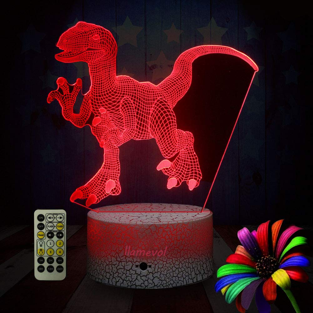 LLAMEVOL Dinosaur Night Lights for Kids Birthday Indoraptor Toy 3D Illusion Lamp Dino Gifts for Boys Home Bedroom Party Supply Decoration 7 Color Blue Raptor Remote Timer by LLAMEVOL (Image #6)