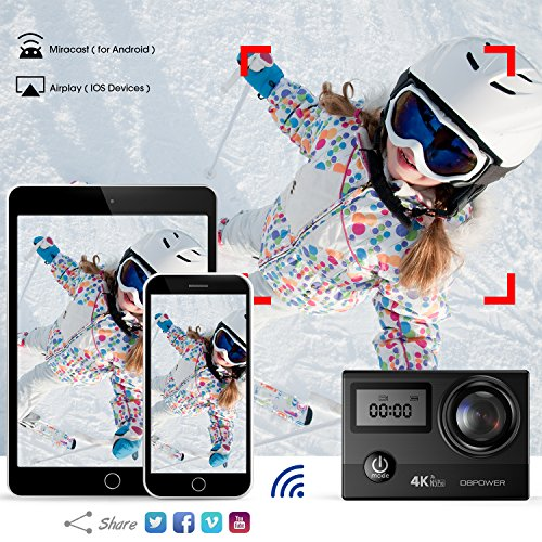 61SVr1wG2nL - DBPOWER N5 Pro WiFi Action Camera 4K Ultra HD 20MP Sports Camera 30m Underwater Waterproof 170 Degree Adjustable Wide Angle Lens Camcorder with 2 Rechargeable Batteries and Mounting Accessories Kit