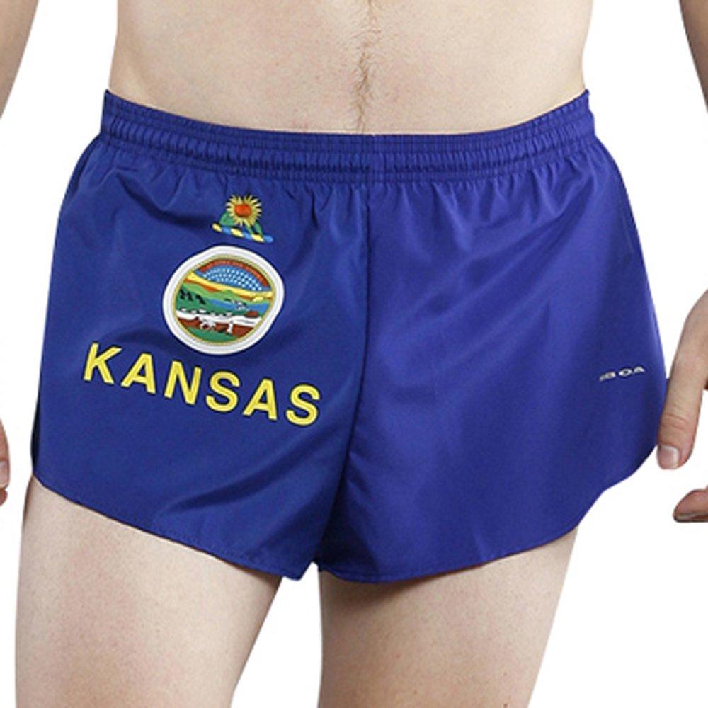 "BOA Men's 1"" Elite Split Leg Print フラグランニングショーツ(1000CP) B07894461T S|カンザス(Kansas) カンザス(Kansas) S"