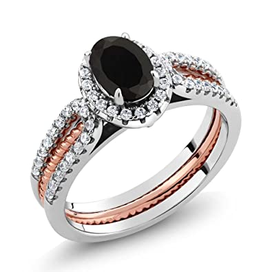 two tone 925 sterling silver oval black onyx wedding band insert ring available in size - Onyx Wedding Ring
