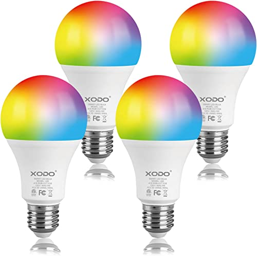 XODO Smart WiFi A19 E26 Dimmable Light Bulb LB3-4PK