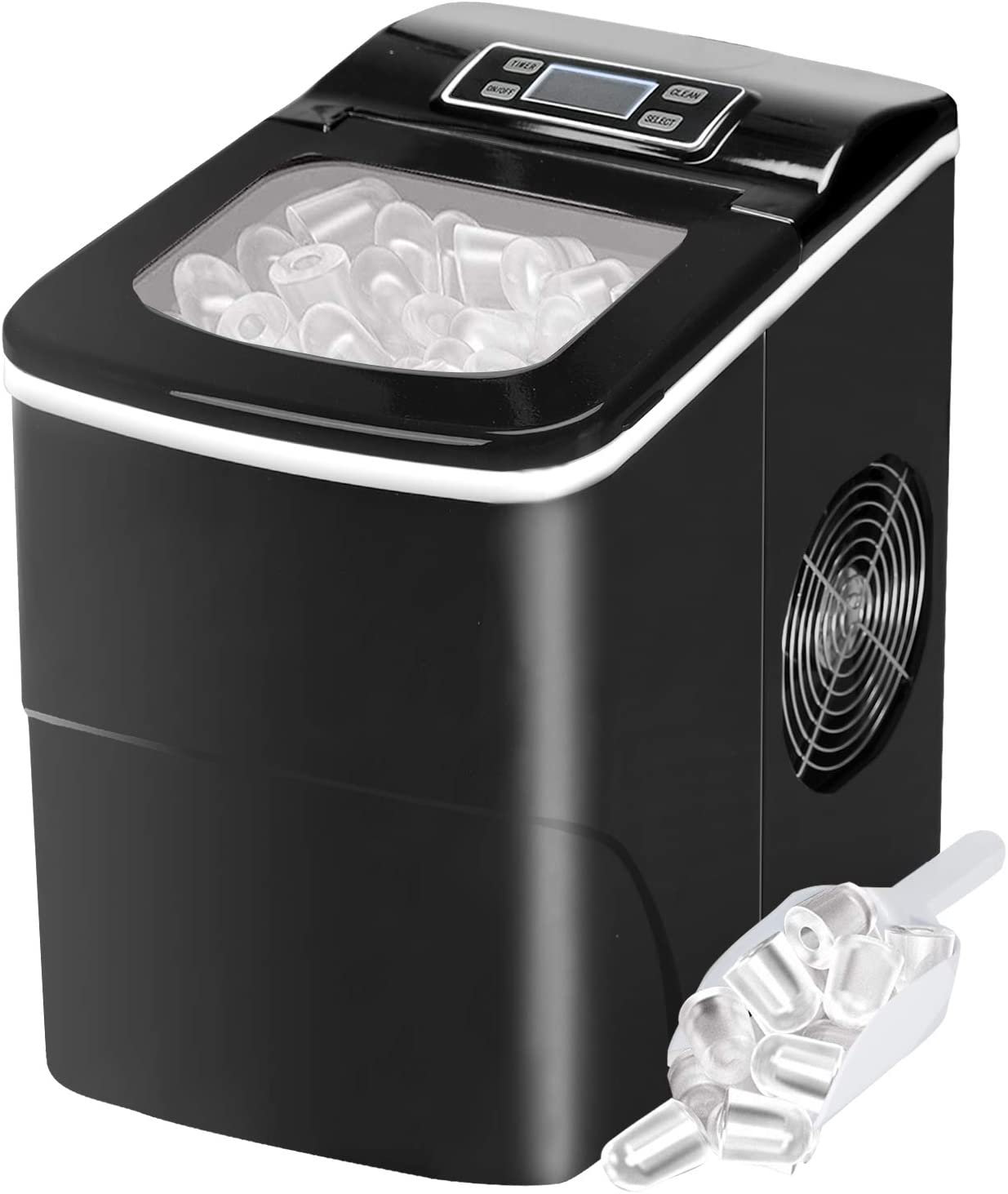 Countertop Ice Maker Portable Ice Making Machine with Timer -Bullet Ice Cubes Ready in 6 Mins - Makes 26 lbs Ice in 24 hrs - Perfect for Home/Office/Bar, LCD Display & Ice Scoop & Bucket(Black)