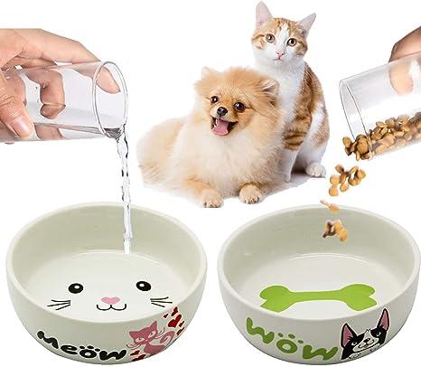 BPS 2X Comedero Bebedero Cerámica Tamaño S para Gato Perro Pequeño Mascotas Producto Alimentación con Diseño