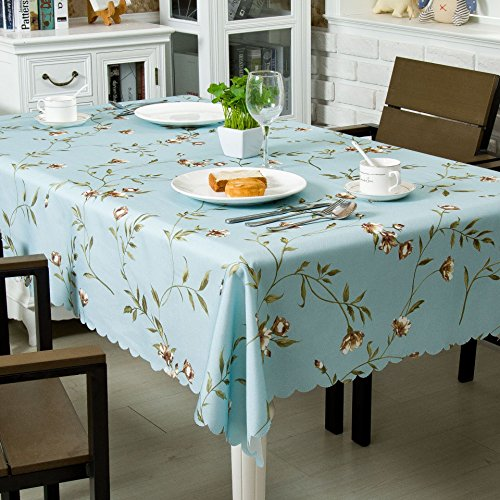 (OstepDecor 100% Polyester Floral Print Tablecloth Waterproof Decorative Table Top Cover for Kitchen Dining Room End Table Protection - Square, 60