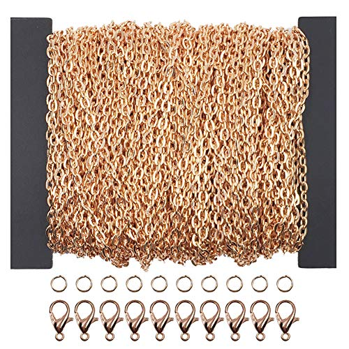 WUBOECE 39 Feet Curb Chain Necklace Bulk Cable 2mm Width with 30 Lobster Clasps and 100 Open Jump Rings for Jewelry Making, Rose Gold