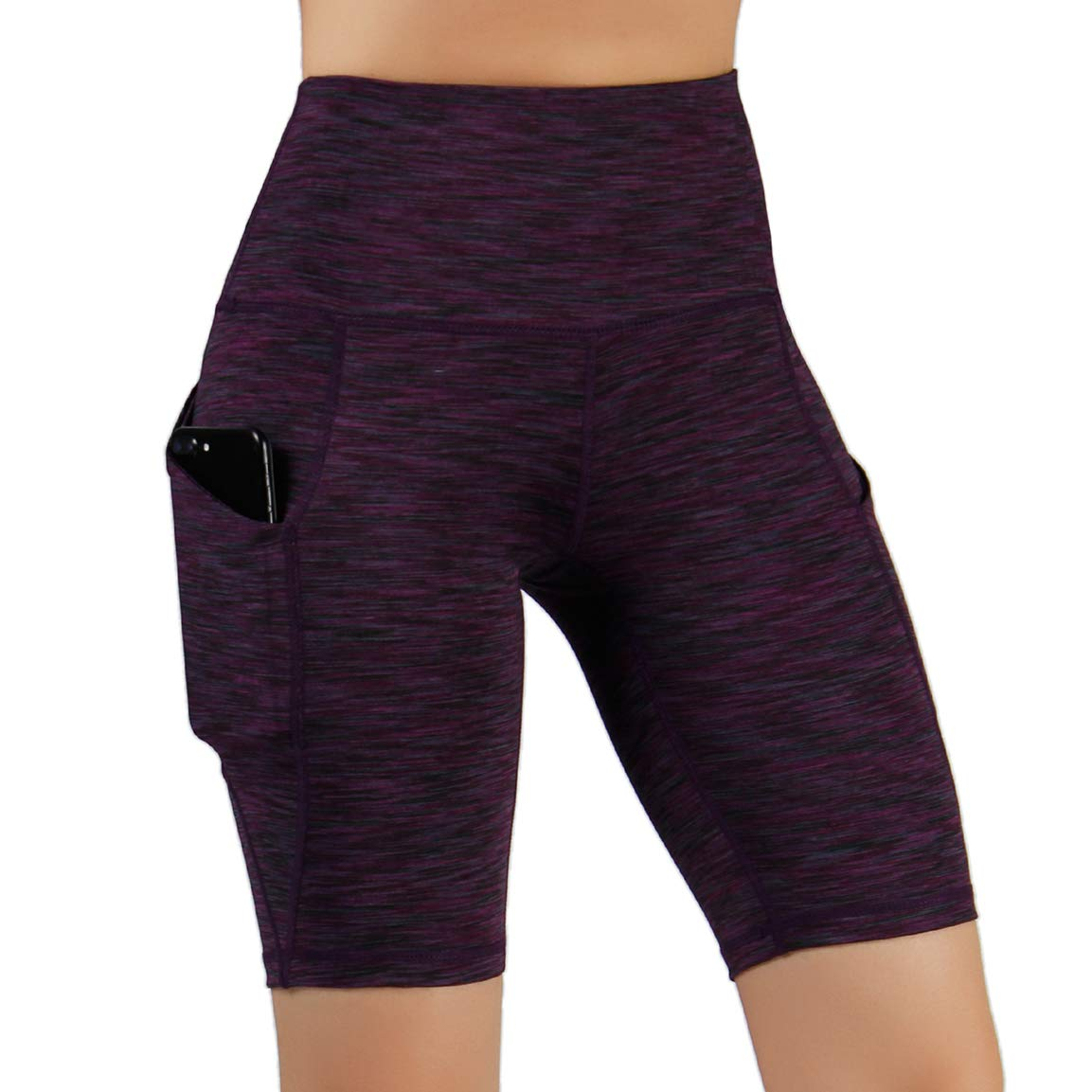 ODODOS High Waist Out Pocket Yoga Short Tummy Control Workout Running Athletic Non See-Through Yoga Shorts,SpaceDyeWine,Small by ODODOS
