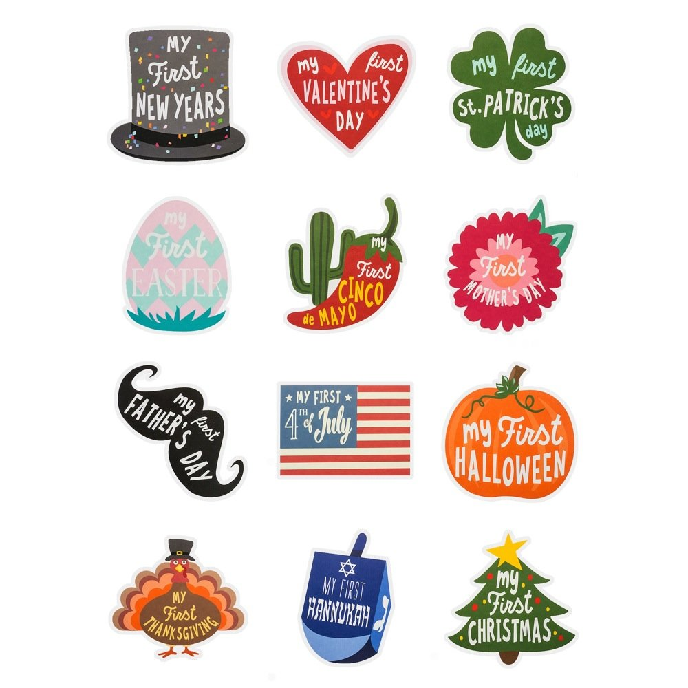 Premium Sticker Kit First Year Holiday Memory Milestones Stickers for 12 Yearly Holidays for Boy or Girl Baby Belly Stickers Share Photos With Family /& Friends
