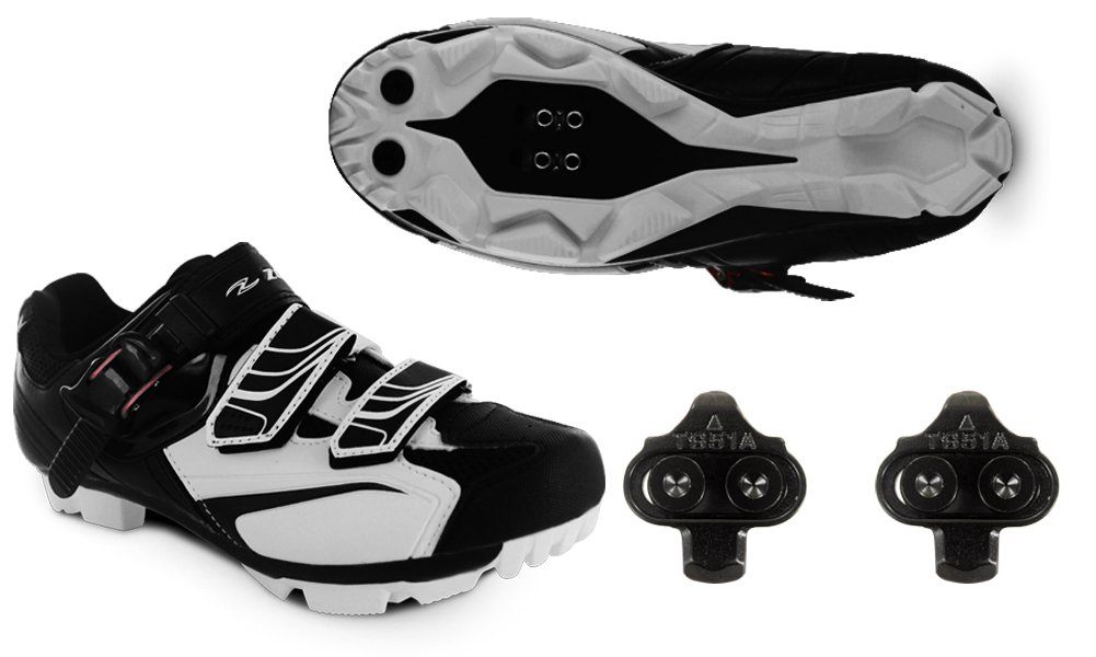 Zol White MTB Indoor Cycling Shoes + Cleats 42