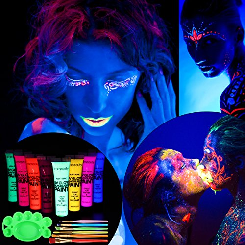 ETEREAUTY UV Blacklight Face and Body Paint Set of 8 1-oz Tubes (Paintbrushes And Party)