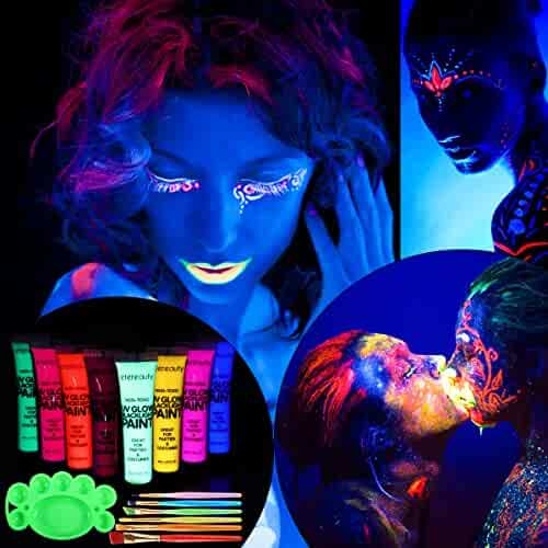 ETEREAUTY UV Glow Blacklight Face and Body Paint 1-oz, Set of 8 Tubes with 6 Brushes and a Mixing Palette