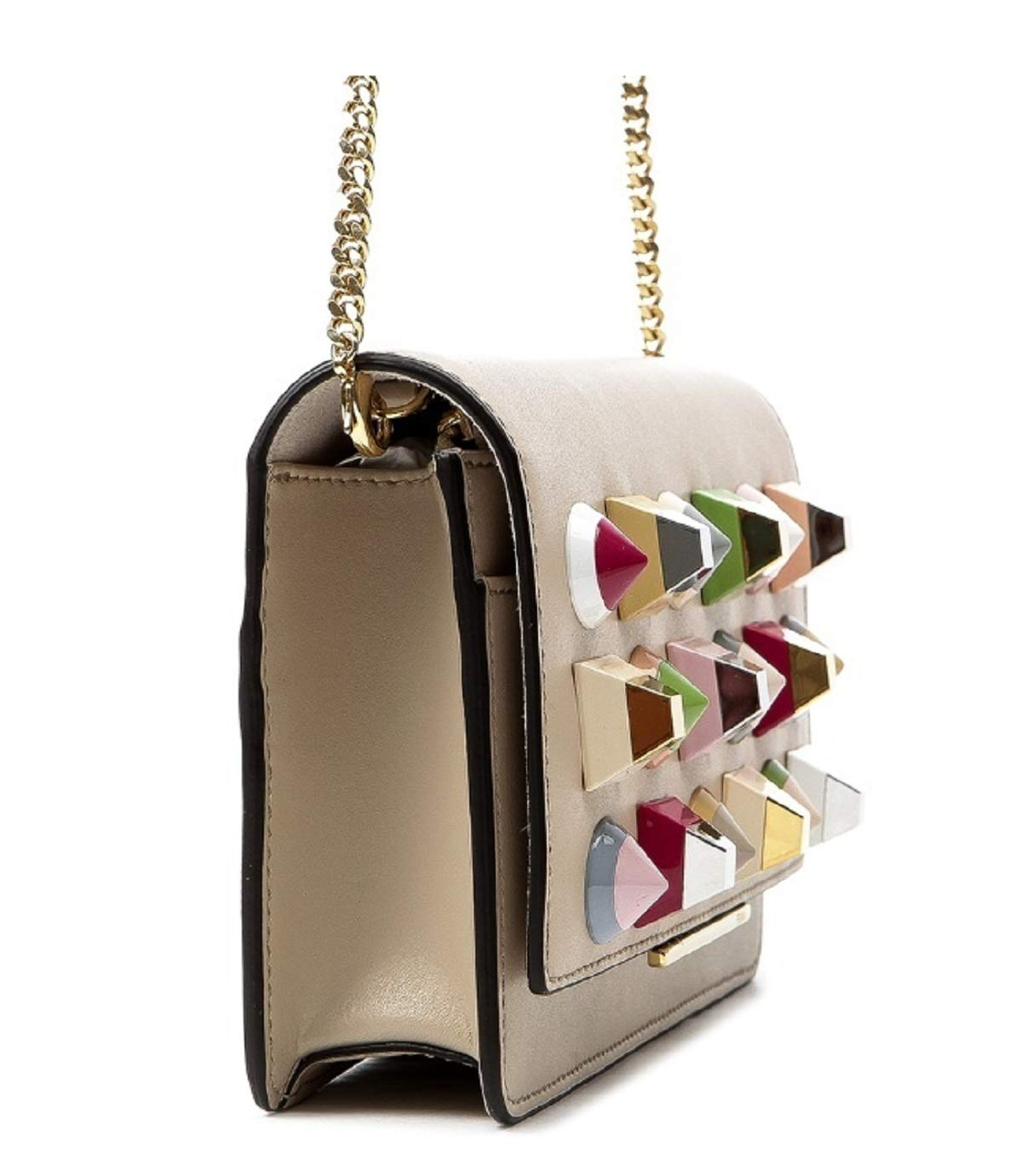 5937aebb5a95 Fendi Mini Bag Calf Leather Cream White with Multicolor Studs 8M0346 ...