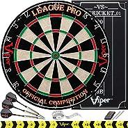 Viper League Pro Regulation Bristle Steel Tip Dartboard Starter Set with Staple-Free Bullseye, Galvanized Meta