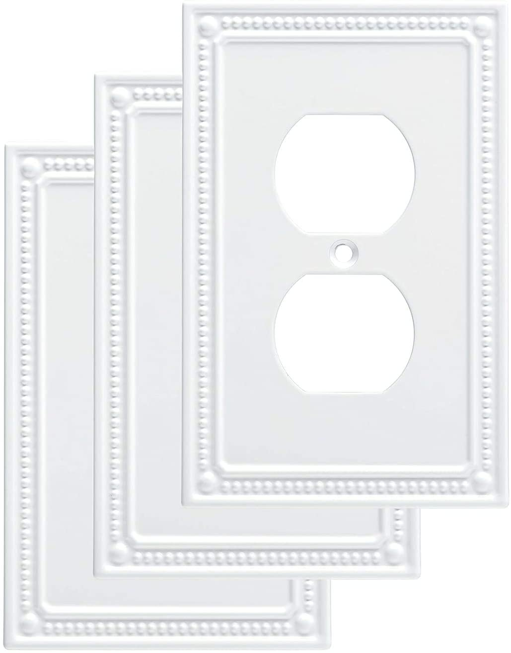 Franklin Brass W35059V-PW-C Classic Beaded Single Duplex Wall Plate/Switch Plate/Cover (3 Pack), White - -