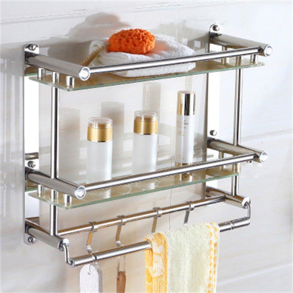 ALUPバスルームタオルラックバスルーム棚ステンレス鋼のガラスの格子のハードウェアバスルームのペンダント壁掛け (サイズ さいず : 50*38cm) B07D598TD9 50*38cm 50*38cm