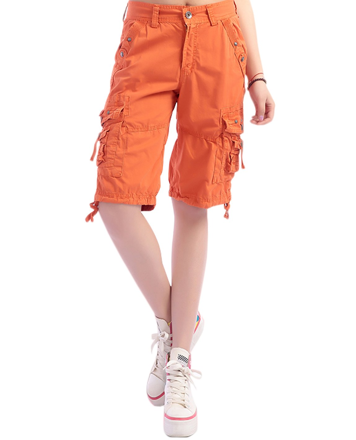 HOW'ON Women's Casual Loose Fit Twill Bermuda Cargo Shorts Multi Pocket Straight Shorts Lily Orange L