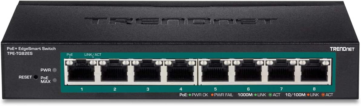 Desktop Ethernet Switch,Lifetime Protection,TPE-TG82ES Wall Mountable 64W PoE Power Budget Desktop Switch Managed PoE+ Switch TRENDnet 8-Port Gigabit EdgeSmart PoE+ Switch 8 x Gigabit PoE+ Ports