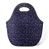 Good4Life - Neoprene Lunch Tote Insulated Reusable Picnic Lunch Bag [ Nights Constellation Stars Pattern ]