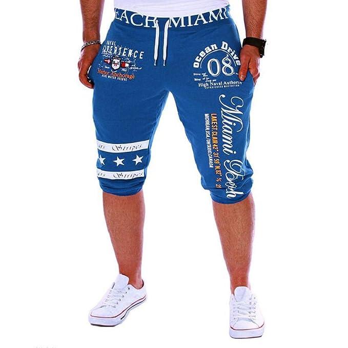 61e692ab62ad Pantalones Cortos Hombre Verano 2019 Nuevo SHOBDW Casual Impresión de  Letras Pantalones Hombre Chandal Cordón Elástico Pantalones Cortos Hombre  ...
