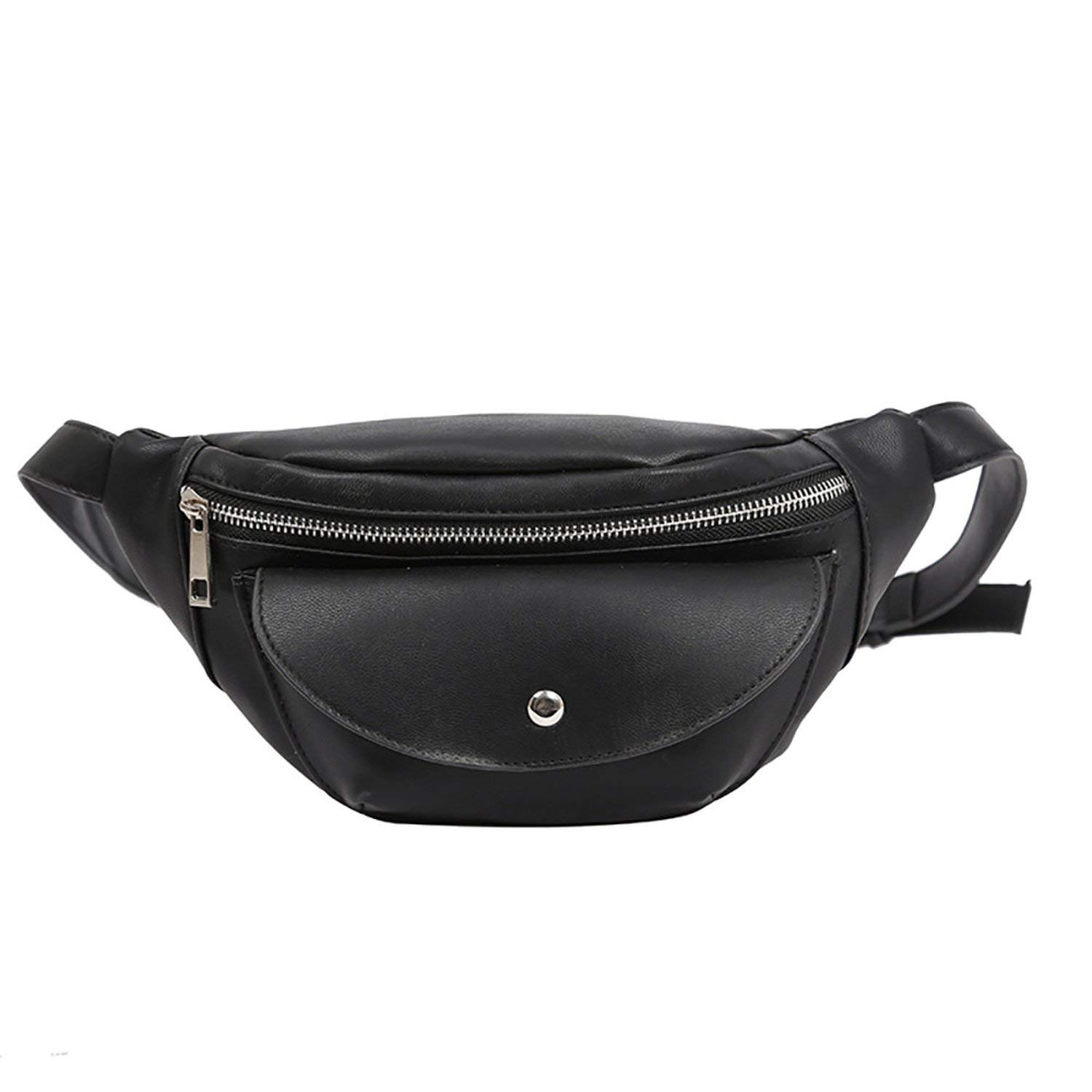Simple pu Leather fanny packs unisex fashionable chest bag versatile waist bags,Black