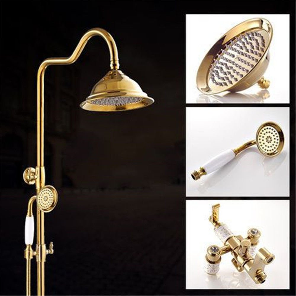 ETERNAL QUALITY Bathroom Sink Basin Tap Brass Mixer Tap Washroom Mixer Faucet gold-plated shower faucet shower set full copper wall mounted shower heads and hand held sho