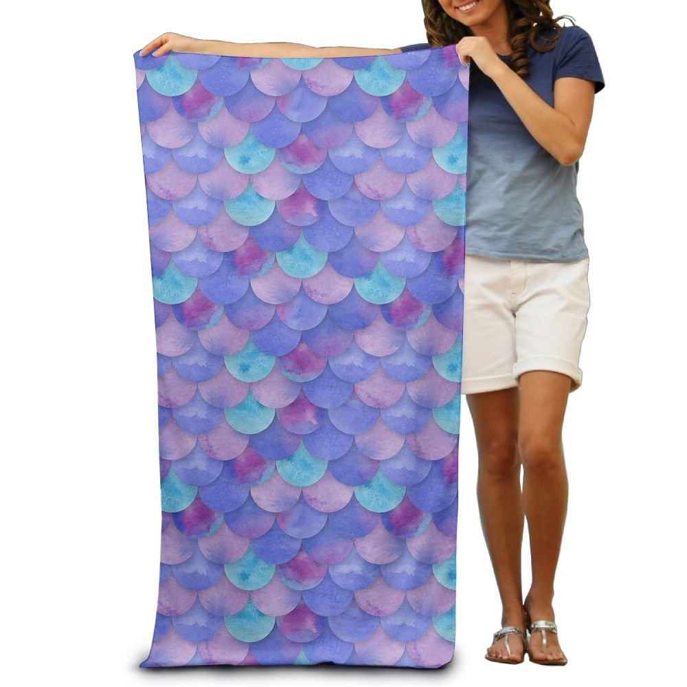 ZMLSJY Beach Towel Purple Fish Scales Premium Soft Bath Towel Suitable For Beach Bath Hotel