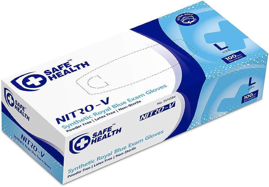 SafeHealth - Nitro-V Nitile&Vinyl Blend Exam Gloves, Box S-XL, Blue, Powder/Latex Free, Disposable, Medical, Daily Use