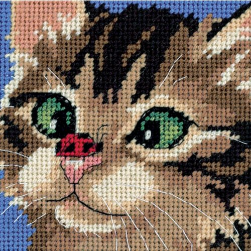 Dimensions Needlecrafts 7206 Needlepoint, Cross-Eyed Kitty (Cat Cross)