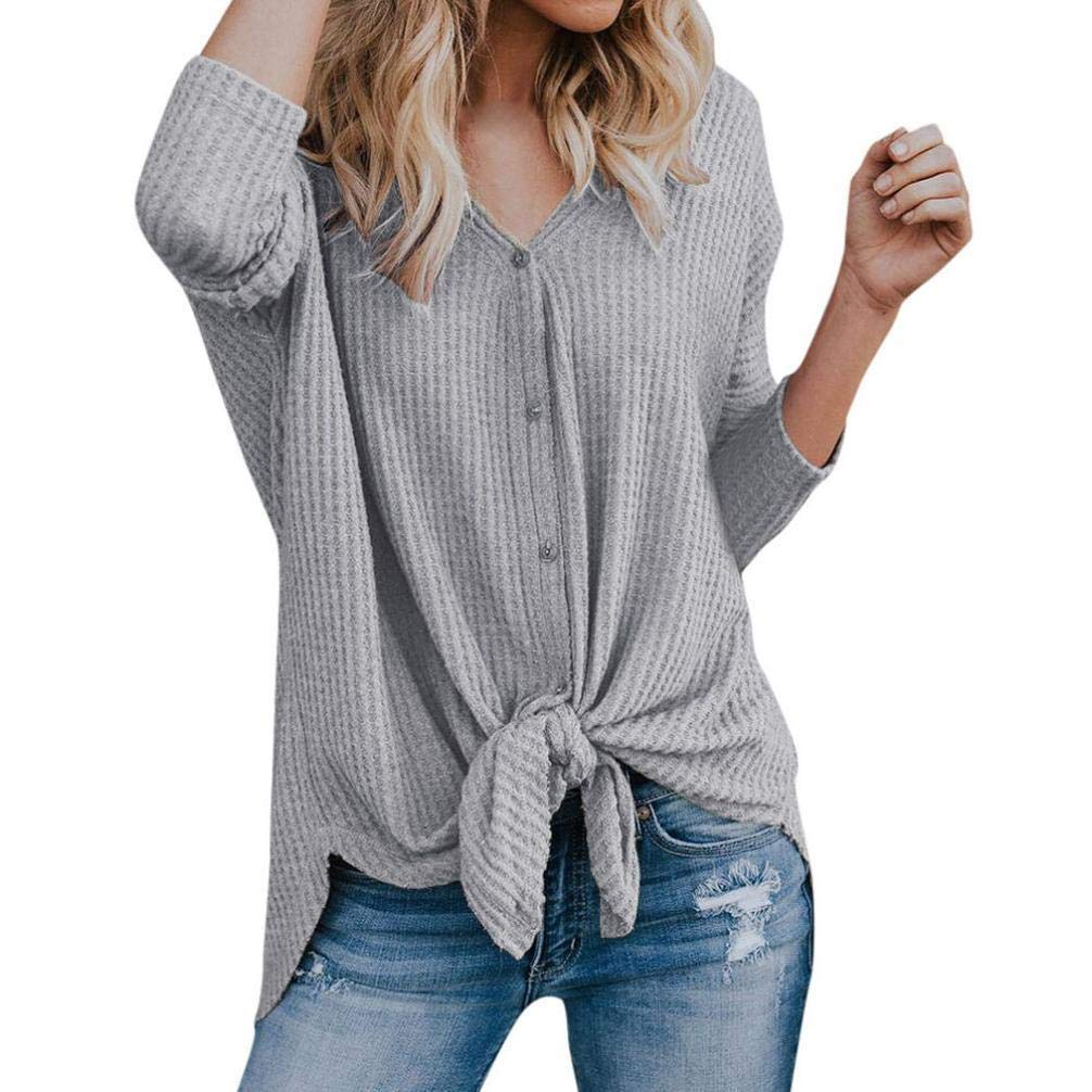Faionny Women Casual Blouse Loose Knit Tunic Tie Knot Henley Tops Bat Wing Plain Shirts